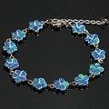 JZB0064 Elegante Flores Strand Azul Opal Pulseiras de Prata Banhado A Cadeia Pulseiras & Pulseiras para Mulheres Moda Jóias