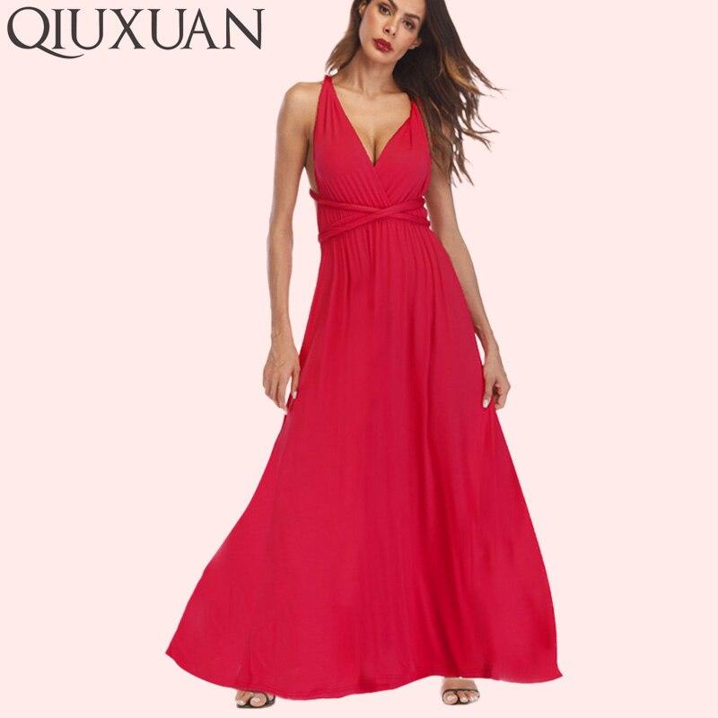 QIUXUAN 20 Farben Sommer Maxi Party Kleid Multiway Schaukel Kleid Mode Ärmellose Cabrio Unendlichkeit Robe Wrap Kleid