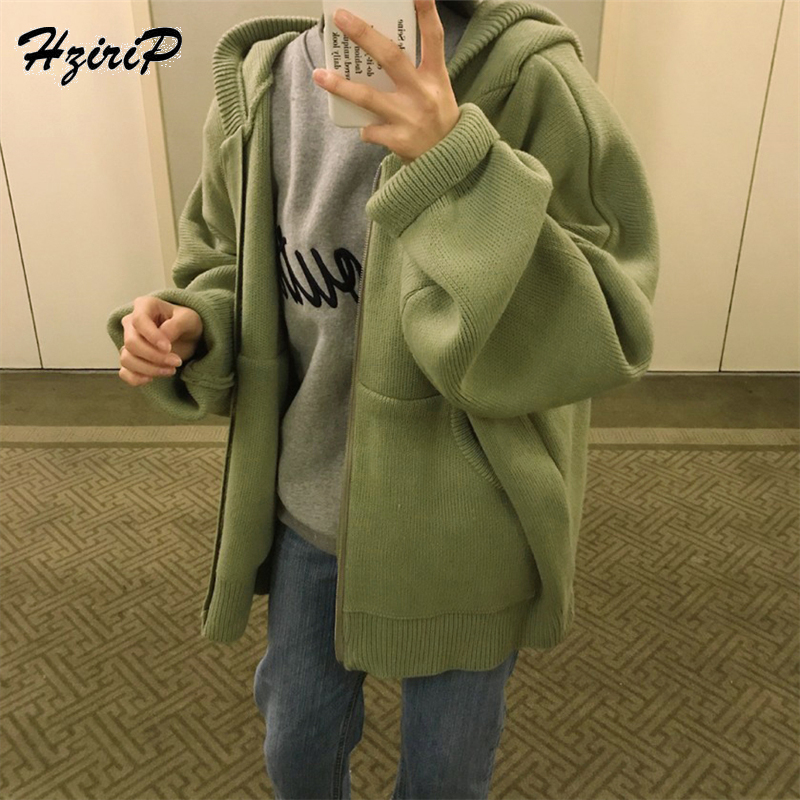 HziriP Autumn Winter Women Knitted Hooded Solid Coat Loose Jacket Thicken Coat Female Casual Overcoat Warm Outerwear 4 Colors