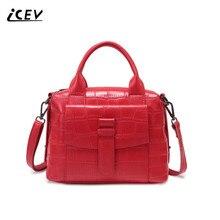 ICEV Neue Marke Mode 100% Kuh Leder Stein Frauen Handtaschen Aus Leder Hohe Qualität Aus Echtem Leder Handtaschen Einfache Damen Tasche Sac
