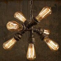 Ретро Лофт Промышленные Утюг водопровод стимпанк подвесной светильник E27 LED AC 110 В 220 В подвесные светильники для спальни гостиной