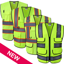 ANSI High visibility safety vest with pockets and zipper hi vis vest with reflective stripes workwear