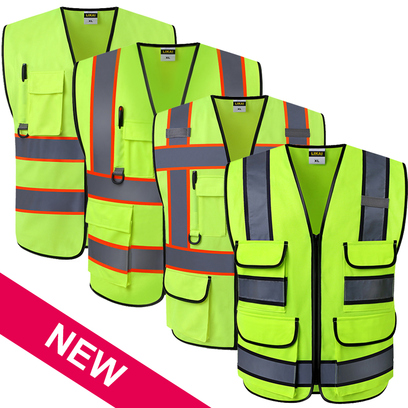 цена на ANSI High visibility safety vest with pockets and zipper hi vis vest with reflective stripes workwear