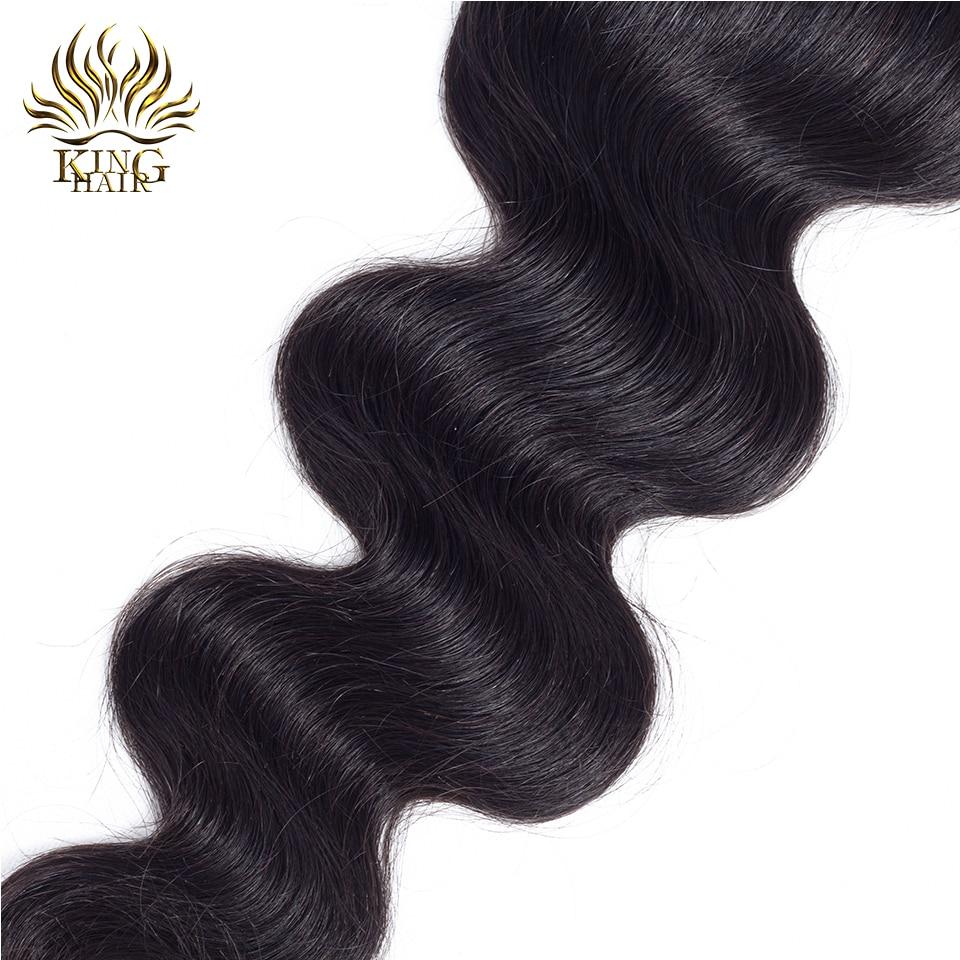 킹 헤어 레이스 클로저 브라질 바디 웨이브 레미 - 인간의 머리카락 (검은 색) - 사진 4