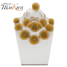 SHILU 2017 Latest Fashion African Jewelry Set Round Pendant Gold Plated Dubai Big Necklace Earrings Wedding Sets Gift For Women
