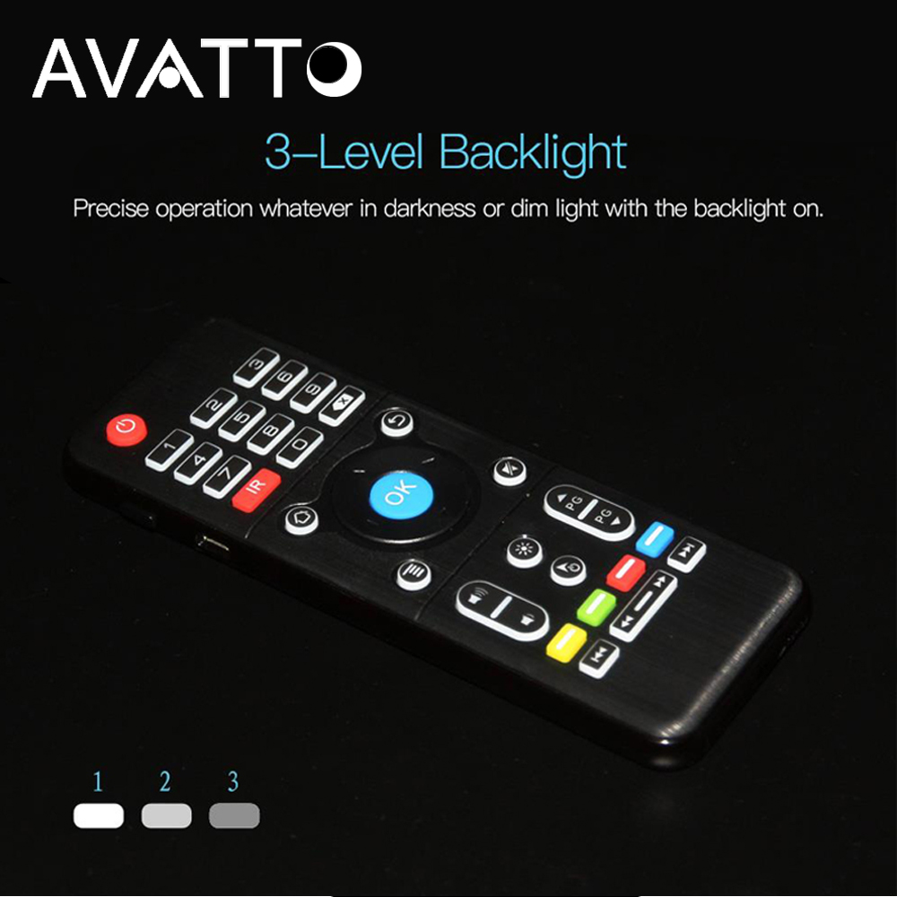 [AVATTO] H1 2.4G Wireless Backlit Air Mouse with Touchpad IR Learning mini Keyboard for Smart TV,Android Box,Laptop Desktop PC