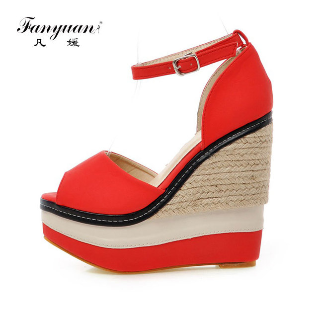 0afa5d588ed Fanyuan Extreme high Heels Sandals women Platform Wedge Sandals Summer Peep  toe Ankle strap shoes lady Party Wedding Boho Sandal. Rated ...
