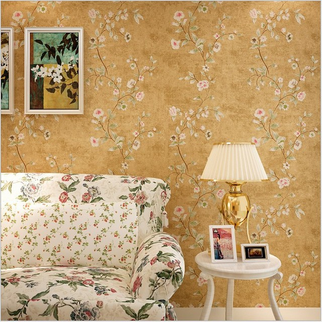 Papier Peint American Rustic Wall Paper Flower 3D Wallpaper Non Woven Bedroom Wallpapers Solid For Walls