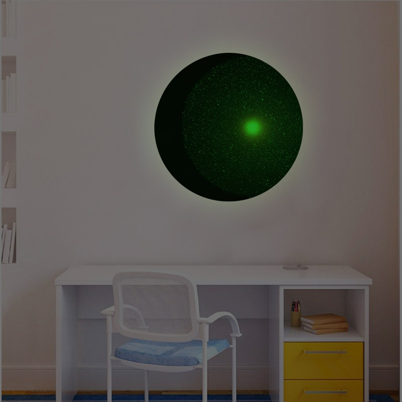 Cartoon Style Celestial Body Family Wall Stickers Mural Art Home Decor Bedroom Nursery Decoration Glowing Luminous Moon