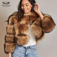 Татьяна Furclub 2018 новый натуральный мех пальто Зимние куртки Для женщин Короткие топы натуральный мех енота пальто Мода High Street Меховая куртка