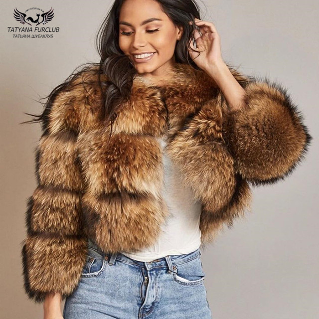 Tatyana Furclub 2018 New Real Fur Coat Winter Jackets Women Short Tops Natural Raccoon Fur Coats Fashion High Street Fur Jacket
