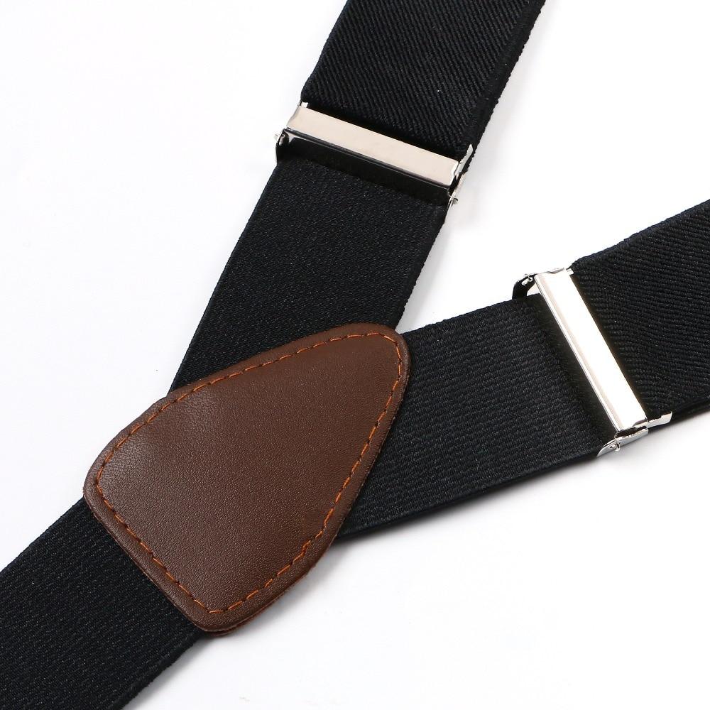 Подтяжки унисекс подтяжки регулируемые искусственная кожа Кнопка для взрослых подтяжки простой сплошной черный пояс BD705