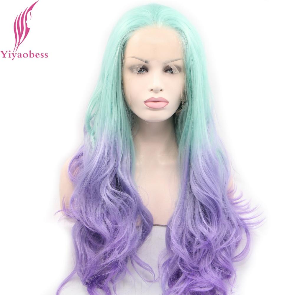 Yiyaobess Syntetisk Loose Wave Lace Front Wig Värmebeständigt Glueless Two Tone Wavy Long Blue Ombre Paryk För Kvinnor