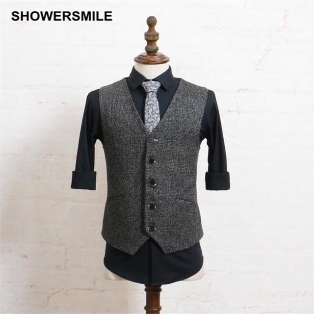 Suit Vest Men Vintage Tweed Gray Sleeveless Jacket Casual Autumn Winter Gilet Slim Fit Stylish Waistcoat Fashion Male Clothing