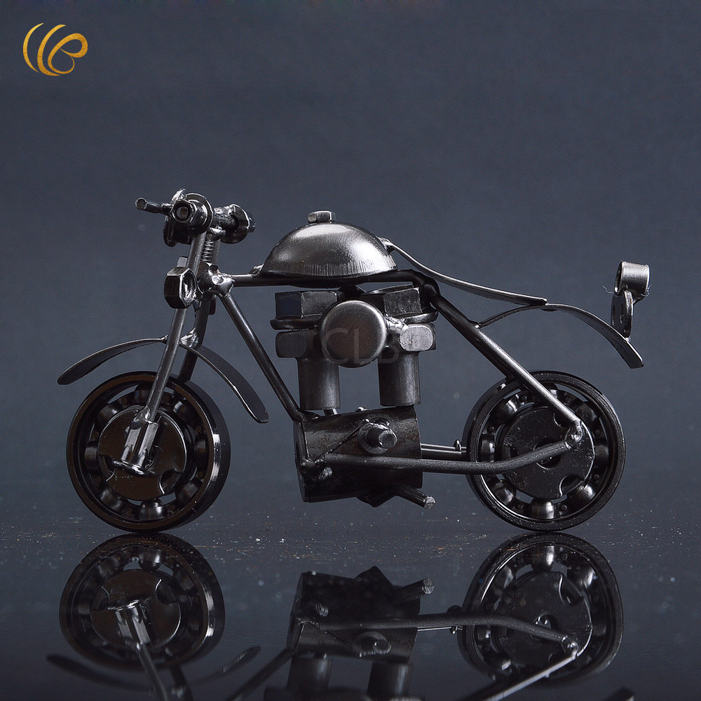 Wholesale hand made recycled metal art vtg motorcycle model toy craft racing home decor in gold - Wholesale home decor merchandise model ...