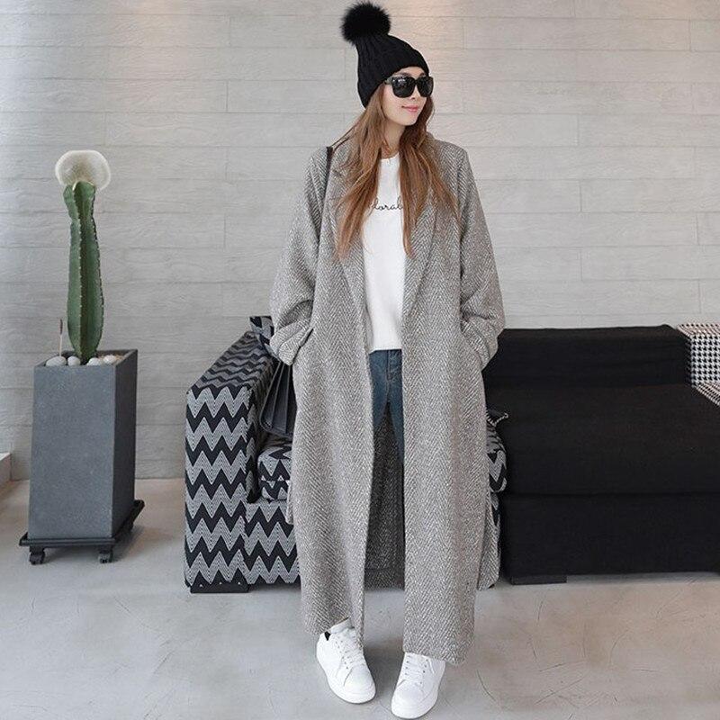Image 2 - LANMREM 2018 Antumn Winter Herringbone Casual Open Stitch Pockets  Wide waisred Mid calaf Loose Coat Woman Overcoat EF443Wool