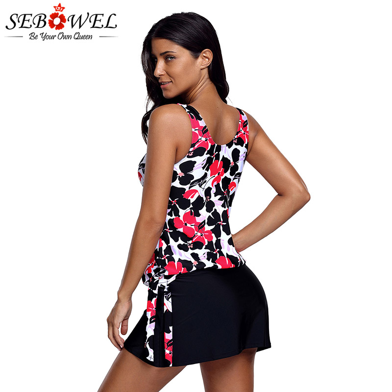 SEBOWEL Womens Plus Size 1X-5X Ruffle Floral Racerback Tankini 2 Piece Swimsuit Swimwear