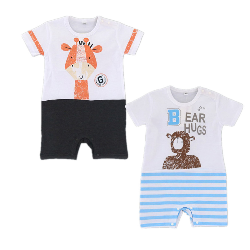 Cute 2017 New Summer Cartoon Baby Rompers Infant Short-sleeved Jumpsuit Baby Girls Clothes Bebes Roupa Kids Newborn Clothing Set complete tattoo kit 2 machines gun for starter power supply needles