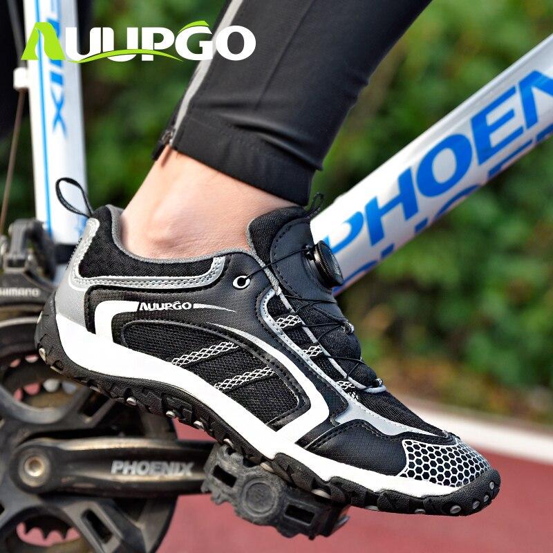 AUUPGO Men women Non lock road bike cycling shoes MTB mountain bike shoes Ultralight breathable non