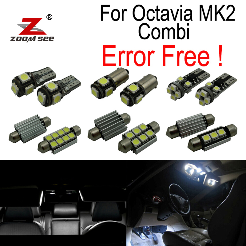 18pcs license plate lamp LED bulb Interior dome Light Kit for Skoda Octavia 2 MK2 MKII 1Z5 Combi Estate Wagon (2005-2012) 27pcs led interior dome lamp full kit parking city bulb for mercedes benz cls w219 c219 cls280 cls300 cls350 cls550 cls55amg