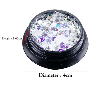 Image 5 - 1 Bottle Laser Nail Glitter Holographic Sequins Mixed Flakes Star Crescent Paillette Powder Spangle 3D Nail Art Decoration BE779