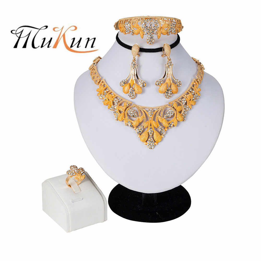MUKUN 2019 NEW Gold Colour Dress Bridal Jewelry Sets For Woman Necklace Earrings Ring Bracelet Party Jewelery Birthday Gifts