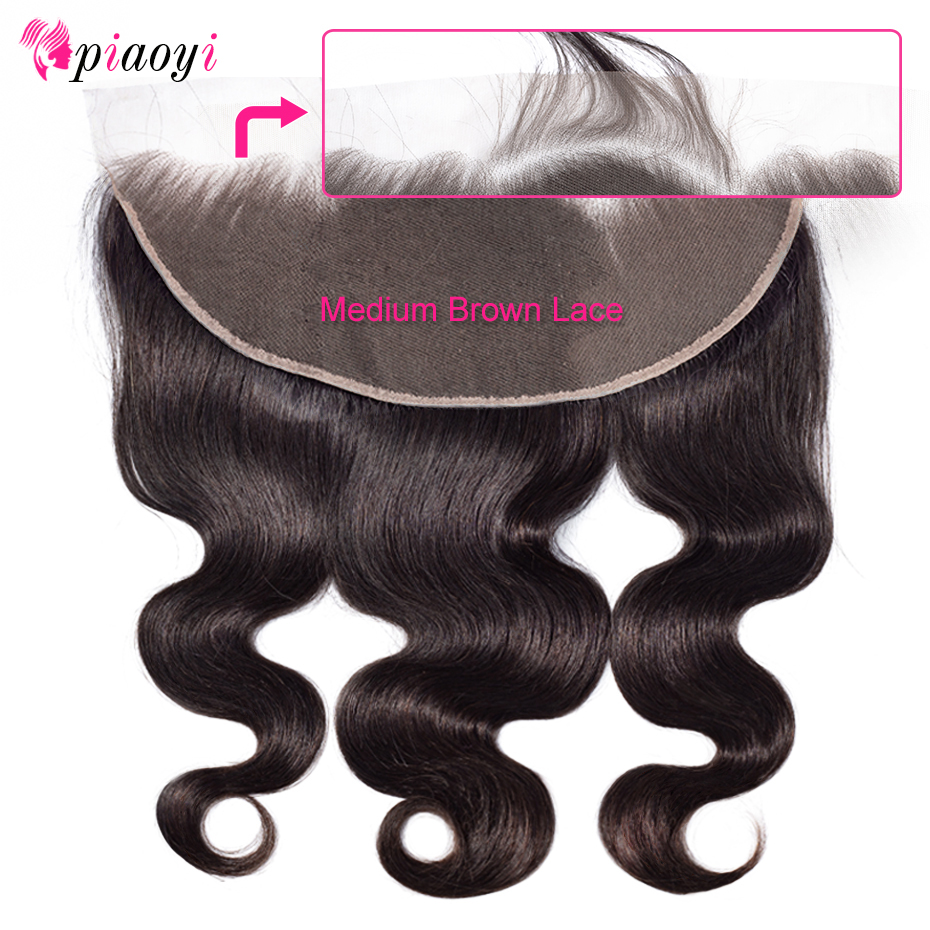 Piaoyi Brazilian Body Wave 13*6 Lace Frontal Free Part Ear to Ear Human Hair Lace Closure Natural Color Remy Hair(China)