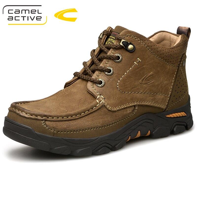 الجمل نشط جديد الشتاء حذاء رجالي أزياء العلامة التجارية الرجال الأحذية الكبار في الهواء الطلق الثلوج جلد طبيعي حذاء من الجلد على  مجموعة 1