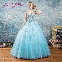 AXJFU/синие кружевные вечерние платья, модные вечерние платья принцессы с голубым цветком, вечерние платья для выпускного вечера, синие круже
