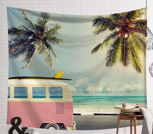 CAMMITEVER Cloudy Day Sea Beach Pink Bus Tropical Plant Hanging Wall Tapestries American Tapestry Landscape Wall Art Lower Price