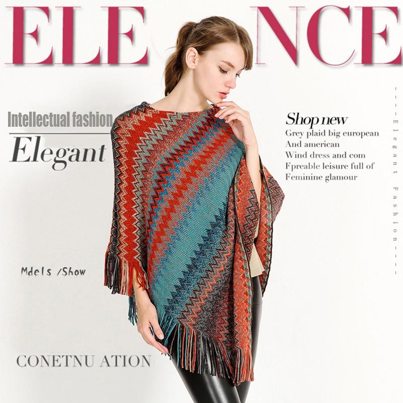 New Designer Fashion Women Knitted Autumn Winter Women Shawl Scarf Warm Cashmere Scarves Shawls Luxury Brand Female Cape A65