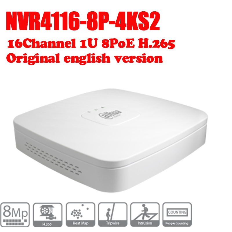 DAHUA POE DH-NVR4116-8P-4ks2 NVR with 8 poe ports Smart 1U Mini NVR 4k h265 Network NVR 2014 new arrival dahua smart 1u nvr with p2p mini nvr nvr4104 nvr4108 nvr4116 free dhl shipping