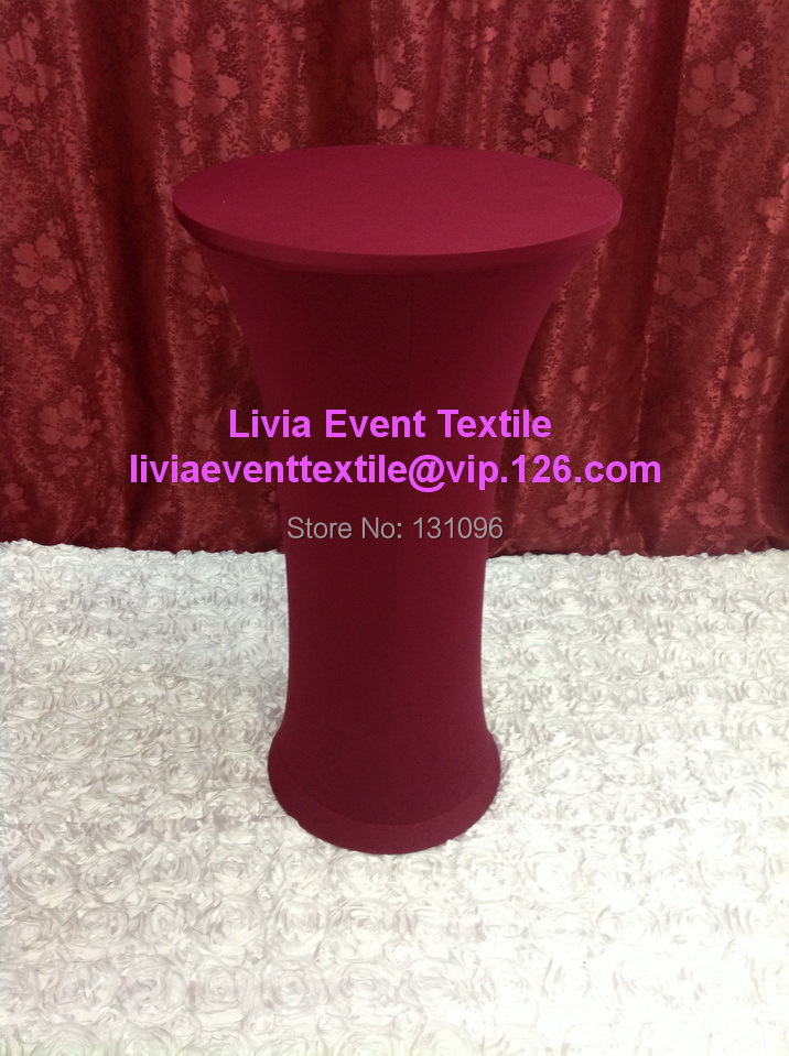 10pcs Extra Thicker #28 Burgundy Round Base Dry Bar Cover,Lycra High  Cocktail Table