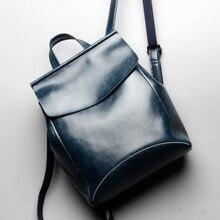 Красивые масло воск кожи женщин рюкзак Новый Fashion путешествия рюкзак корейский Простой Винтаж Стиль натуральная кожа сумка