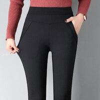 Women's black high waist leggings 2019 winter new skinny stretch pencil pants plus velvet thick fashion casual wear ankle length