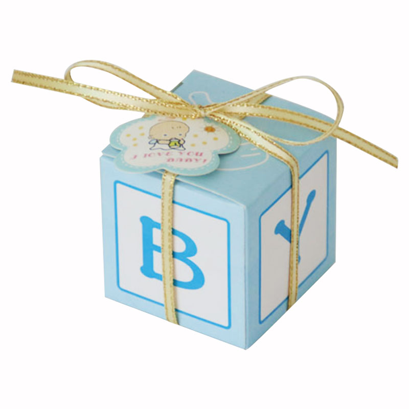 HOT SALE 50pcs European Unique Baby Letter Candy Box Cute Box Available Newborn Baby Gift Boxes for Guest blue