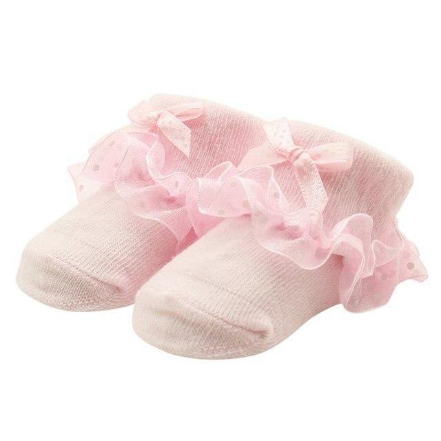 3f956533da1b2f US $0.88 19% OFF|Kleinkinder Baby Mädchen Baumwolle Spitze Rüschen Socken  Prinzessin Bowknots Socken in Kleinkinder Baby Mädchen Baumwolle Spitze ...