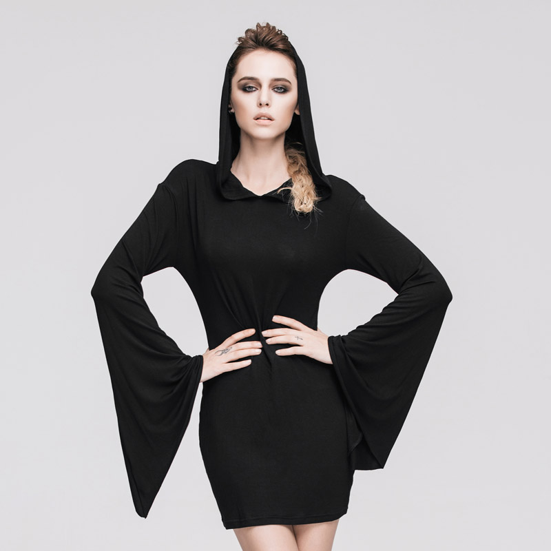 2017 Steampunk Gothic Splicing Long sleeved Dress Hooded Women Cultivate One's Morality Show Thin Pure Colour Black Women Dress