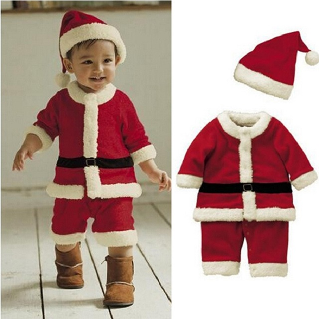 75039e1eed06 Santa Claus Costumes Baby Clothes Christmas Boys Outfits Rompers Cap ...
