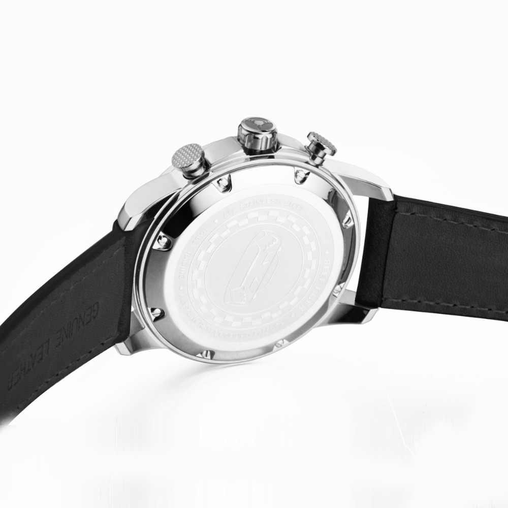 שונית טייגר/RT אופנה Mens ספורט שעון אמיתי עור זוהר שחור חיוג פלדת הכרונוגרף תאריך עמיד למים קוורץ שעונים 2019