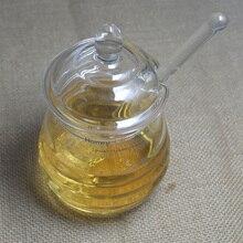 цена High - grade transparent glass honey jar jam kitchen seasoning storage with stirring bar 290ML онлайн в 2017 году