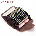 Miyahouse High Capacity Female Card Holder Wallets Split Leather ID Card Holder Women Pillow Card Purses Ladies Hasp Coin Purse