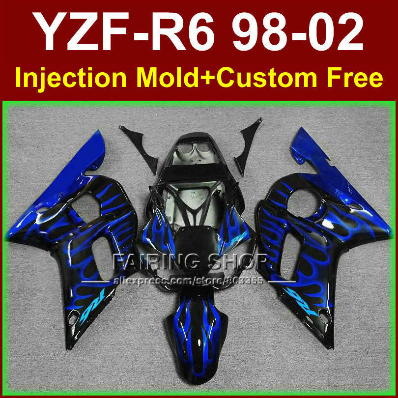D7EF New blue flame fairing set for YAMAHA YZF R6 98-02 YZF R6 fairing kit 1998 1999 <font><b>2000</b></font> 2001 2002 fairings parts OF9C image
