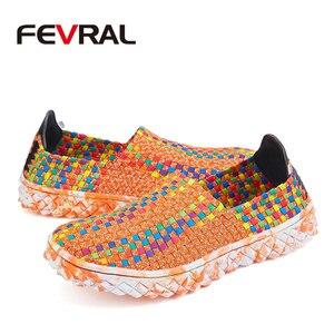 Image 5 - FEVRAL Marke Frau Multi Farben Weichen Freizeit Wohnungen Frau Hand woven Atmungsaktive Schuhe 2021 Mokassins Casual Frau Faulenzer