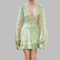 HAMALIEL 2019 Runway Summer Ball Gown Dress Women Green Floral Print Chiffon Lantern Sleeve Dress Sexy Deep V Neck Holiday Dress
