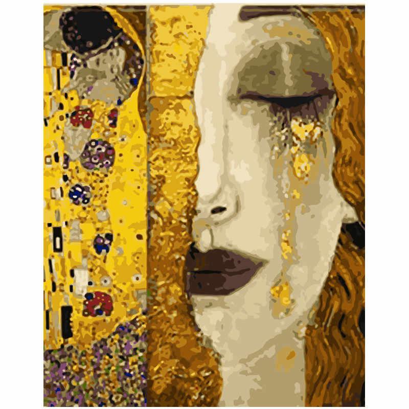 Картина по номерам DIY дропшиппинг 40x50 50x65 см золотая красота в печали рисунок холст свадебное украшение художественная картина подарок