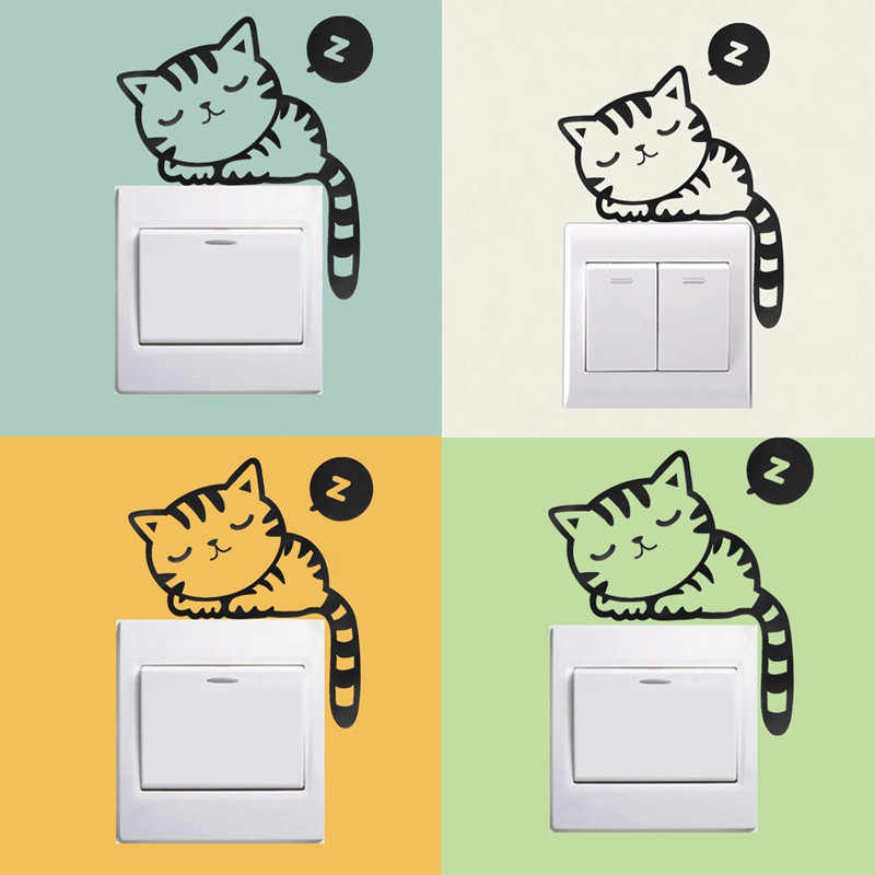 DIY Funny Cute Sleeping Cat Dog Switch Stickers PVC waterproof Wall Stickers Home Decoration Bedroom Parlor Decoration