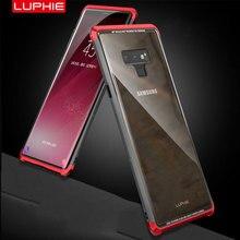 Original LUPHIE กรณีโลหะสำหรับ Samsung Galaxy หมายเหตุ 9 โลหะกันชนฝาครอบกระจกนิรภัย Note9 โปร่งใส Coque กระเป๋า