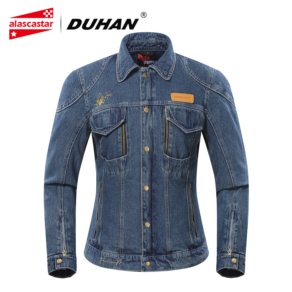 DUHAN Autumn Winter Motorcycle Jacket Women Denim Jacket Riding Jacket Moto Protective Gear Cold-proof Keep Warm Casual Clothing duhan motorcycle jacket motorcycle pants suit autumn winter cold proof waterproof touring chaqueta moto protective gear