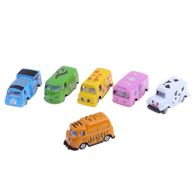 6pcs Mini Mixed Funny Cartoon Animal Alloy Car Model Toys Set Children Educational Vehicle Model Toys for Children Gifts